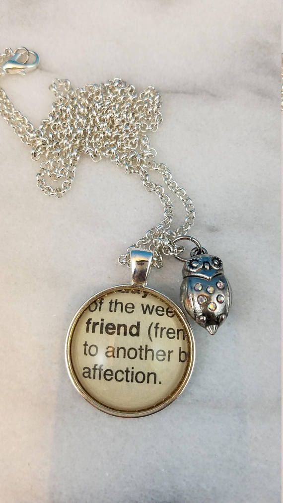 33 best dictionary word necklace images on pinterest dictionary friend vintage dictionary word pendant with owl charm aloadofball Choice Image