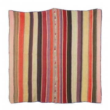 Handwoven Traditional Bolivian Frasada Blanket. These durable striped textiles are tightly woven with Alpaca wool to be used as blankets, rugs, throws or wall hangings.