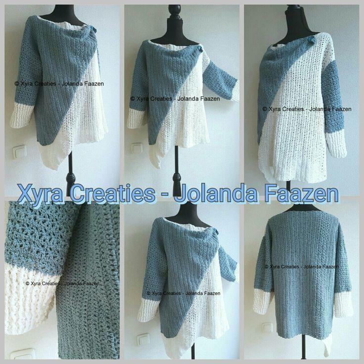 #PATR1094 #asymmetrisch #asymmetric #trui #shirt #top #sweater #haakpatroon #patroon #haken #gehaakt #crochet #pattern #DIY #sleeves #mouwen #mouw #sleeve  Patroon (NL) is beschikbaar via: Pattern (English-US) is available at: www.xyracreaties.nl  www.ravelry.com/stores/xyra-creaties  www.etsy.com/shop/XyraCreaties