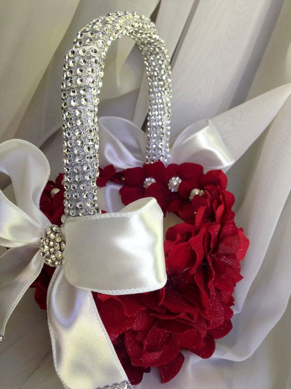 red flower girl basket with hydrangea petals by TheCrystalFlower, $95.00