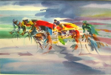 """Cyclists"" by Doug Lew. 14"" x 20"" Watercolor Original. A sprint...a breakaway from the pack, leaving the peloton behind...men and machine grinding and pumping their piston-like legs to the finish line. Info: http://www.spiritofsports.com/product/CCL-A-01493/Cyclists"