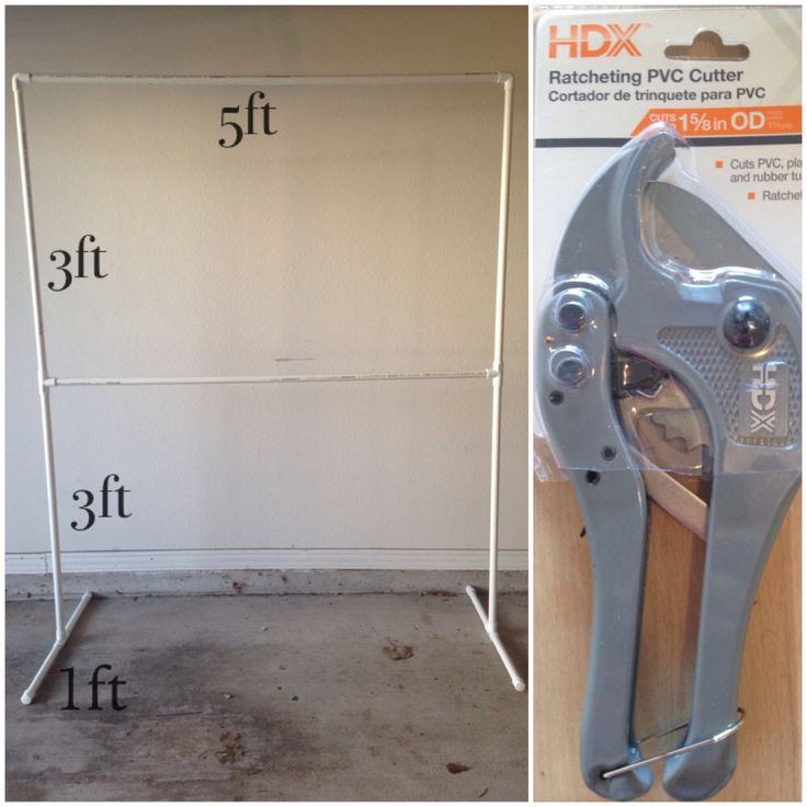 """DIY backdrop stand.  I saw many pins on how to so this & wanted to share my story. It's true, PVC materials were only $12. Supply list: (3) 3/4"""" 10ft PVC poles (4) 3/4"""" PVC T joints (2) 3/4"""" PVC L joints (4) 3/4"""" PVC end caps I bought this all at Home Depot. The other part to story is the tool needed to cut PVC pipe, Ratcheting PVC Cutter (cost $11.98). In all $25 & only takes 30min to complete. Plus I have two extra 2ft poles to make a 5ft high backdrop vs the 6ft high backdrop shown."""