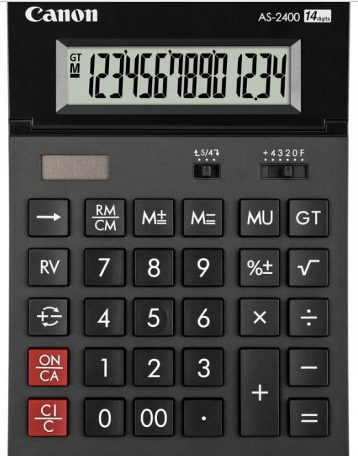 Calculator birou Canon AS2400, 14 digiti, ribbon, display LCD ajustabil, functie business, tax si conversie  Garantie 12 luni Producator: CANON
