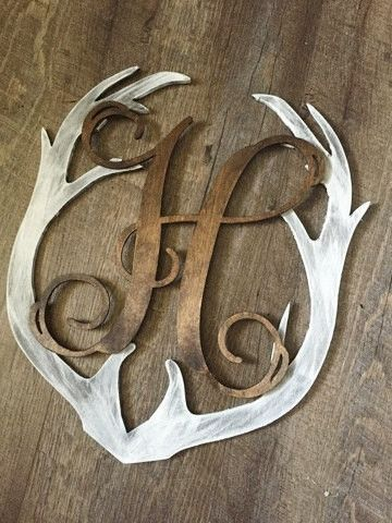 DIY Home Decor: Monogrammed Deer Antler Rustic Whitewash Wall Deco...