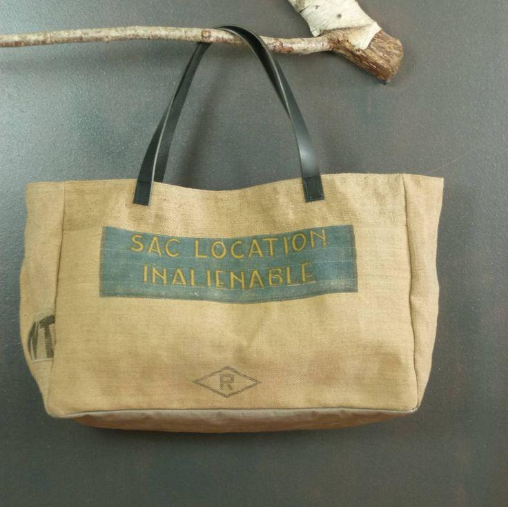 Panier cabas de plage très grande taille en toile de jute (recyclage de sacs à grains anciens) pièce unique création artisanale de la boutique MADEinPERCHE sur Etsy