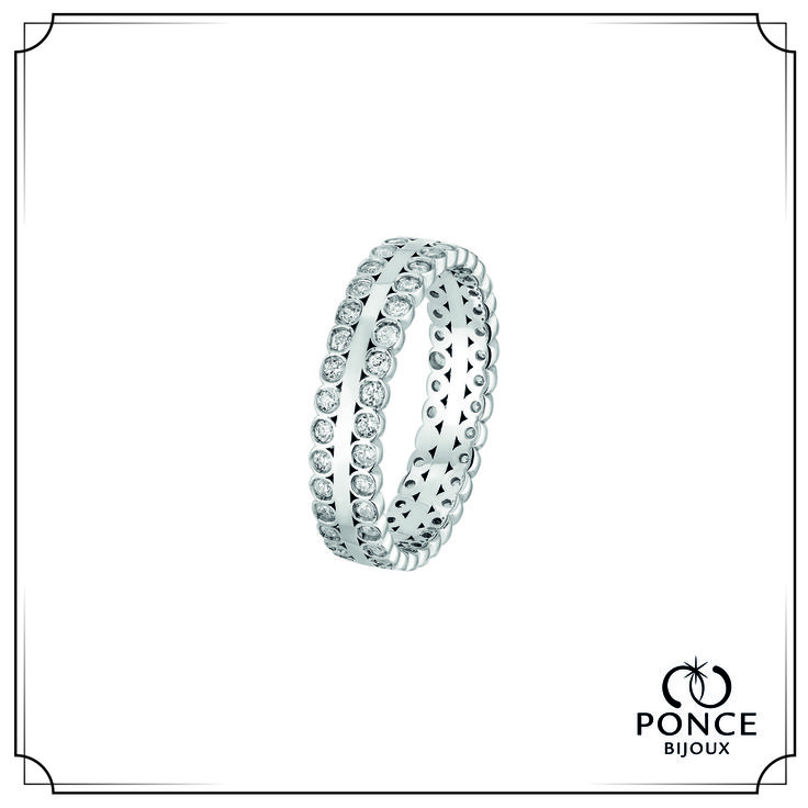 Bijoux Ponce TOGETHER DOUBLE ELDA FOREVER Alliance Diamant, Alliance femme, Alliance Platine, diamants H-SI 66 x 0,01 ct Poids total 0,66 ct Largeur 4,3 mm #BijouxPonce #Paris #MadeInFrance #Love #mariage #alliance #platine