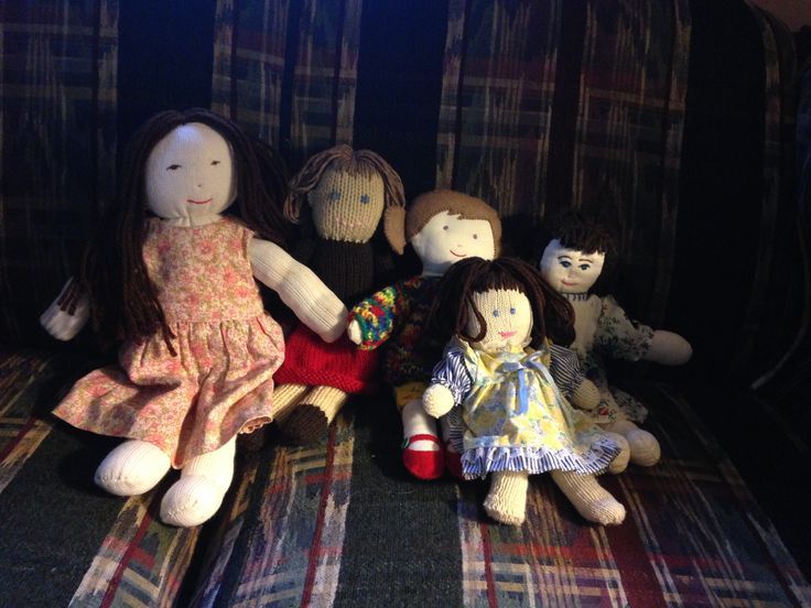 Five dolls I have made:  Abigail Stockings, Linda Jane Knitted, Trixie, Elizabeth Glovely, and Victoria Ragdoll.