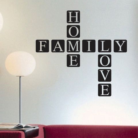 Family Home Love Scrabble Tile Vinyl Wall Lettering Block Decal
