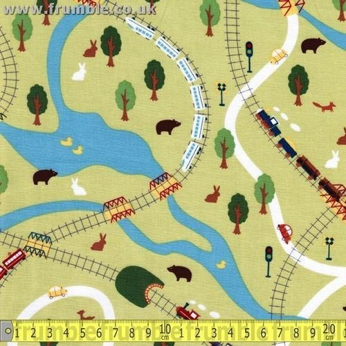 Michael miller fabric going places fq retro train kids for Kids train fabric