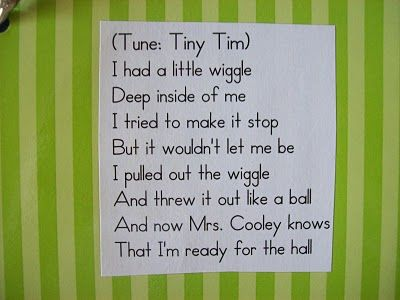 "Line-up song - Sing to the tune of ""Itsy Bitsy Spider"""