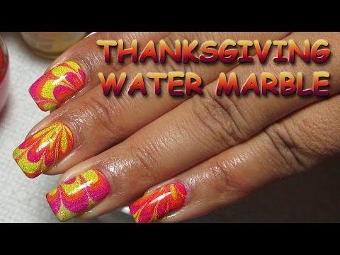 Thanksgiving Water Marble Nail Art Tutorial Youtube
