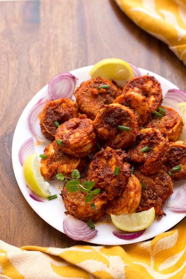 Prawns Recheado Masala Recipe - fun method, absolutely cover shrimp with masala spice and chili mix, coat with flour, pan fry - Try this masala on veggies too??