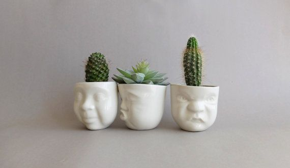 Small Ceramic Garden Planter , Ceramic Face , Air Plant Pot , Succulent Planter Porcelain Doll Head Vase Ceramics Pottery SCULPTUREinDESIGN