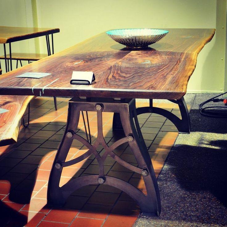 Vintage Handmade Slab Wood Coffee Table From: 1000+ Ideas About Metal Table Legs On Pinterest