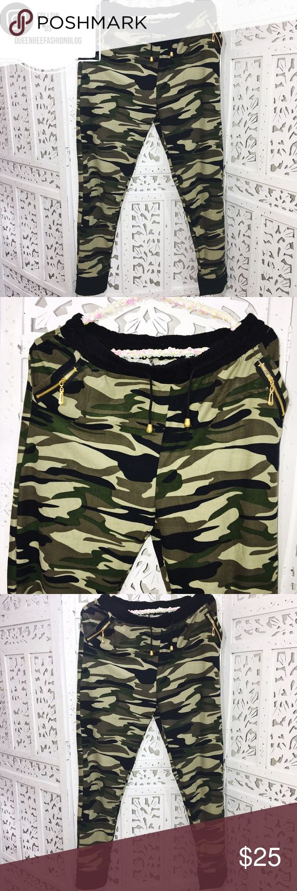 """ARMY GREEN MILITARY SKINNY JOGGERS PANTS So cute! Didn't get to use these. NEW without tags. They are so comfy, stretchy, and lightweight. One size! I usually wear a Medium and these were perfect.  Waist: 32"""", rise: 10"""", hips: 37"""", inseam: 28"""".     """"Add to bundle"""" to add more items from my closet or """"Buy"""" to checkout now.  Get to know me! Showing you how to style your looks at www.Queenbeefashionblog.com SUBSCRIBE.    Let's be friends! Follow me on Instagram @queenbeefashionblog Queen Bee…"""