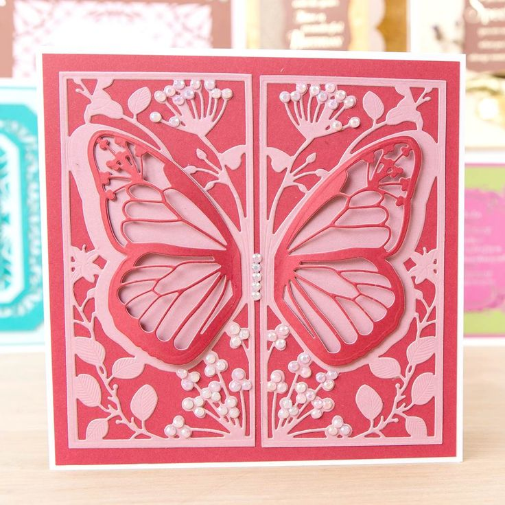 Beautiful butterfly card made using the Kanban Selection Box. Shop now: http://www.createandcraft.tv/pp/kanban-selection-box---128-sheet-collection-of-a4-designer-card-350558?referrer=search&fh_location=//CreateAndCraft/en_GB/$s=350558 #cardmaking #papercraft