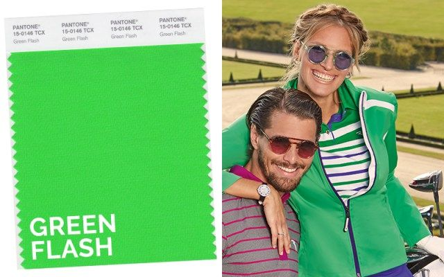 Top colors on the green Spring/Summer 2016: green flash. Golf sportswear