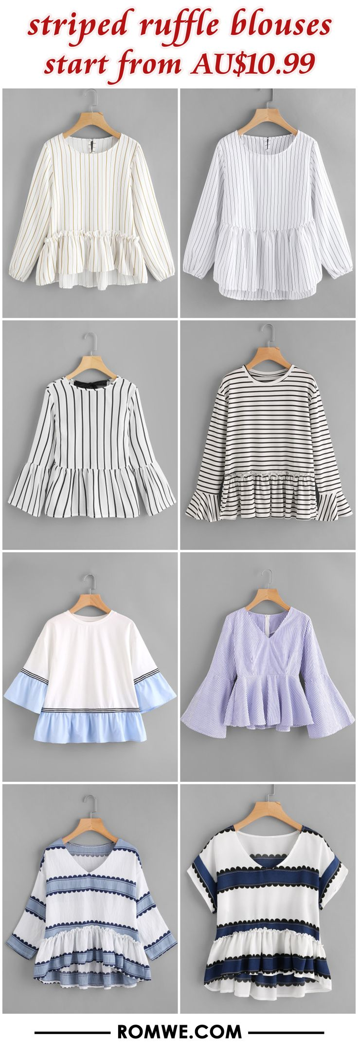 striped ruffle blouses from AU$10.99