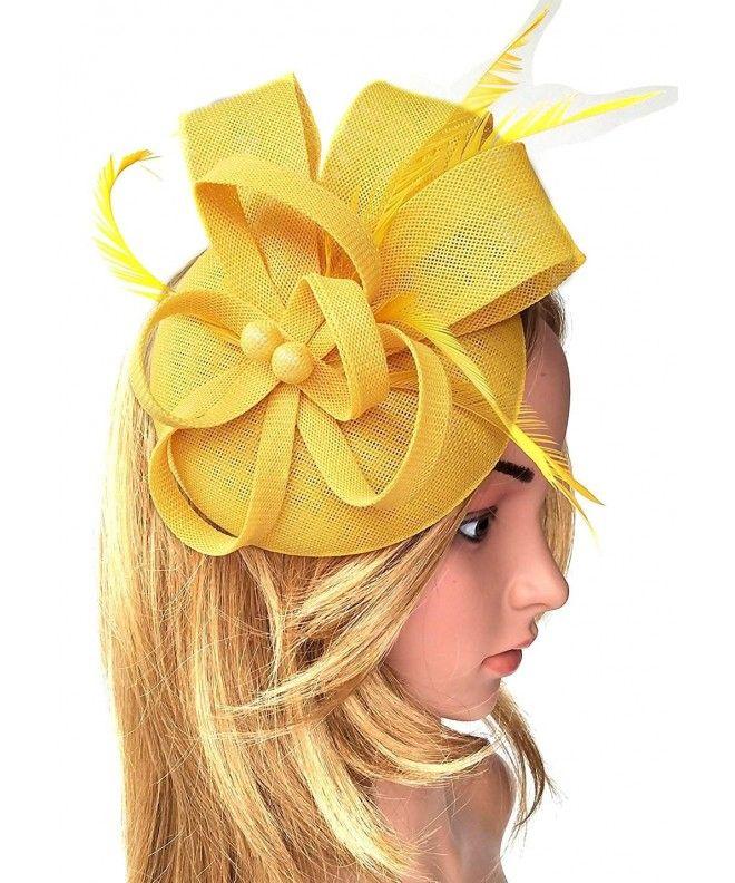 Women's Fascinator Hat Imitation Sinamay Feather Tea Party Pillbox Flower  Derby - Yellow - CV18ENKZIUT | Fascinator hats, Fascinator, Fancy hats