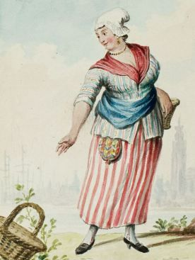 1770s - 18th century - woman's outfit with mixed print fabrics (jacket in stripes with flowers in between stripes, skirt in stripes, neckerchief in plaid-checks)