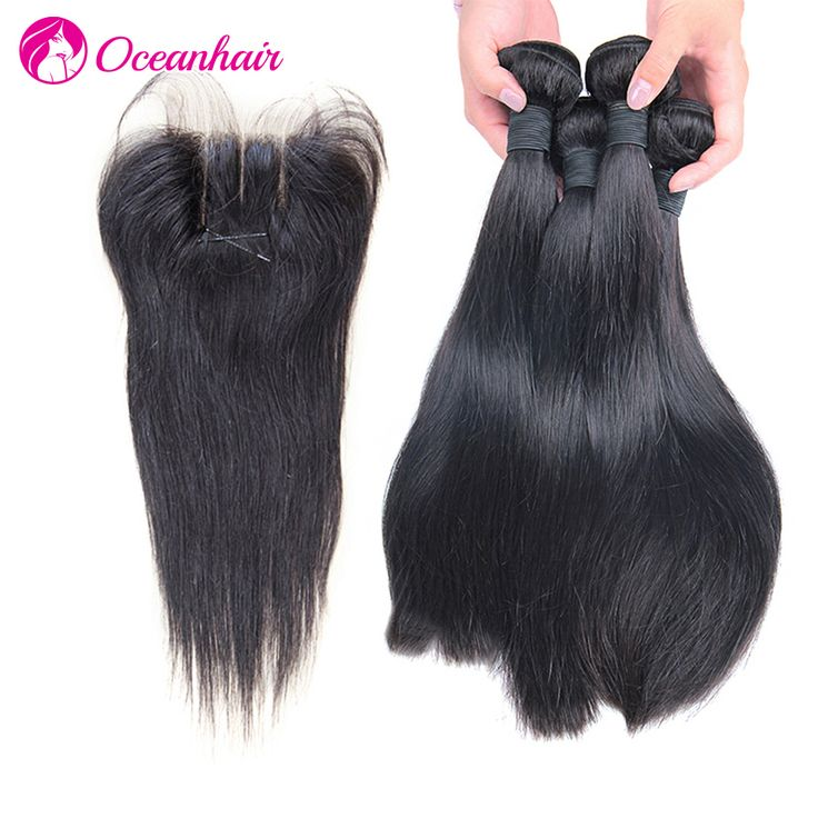 Peruvian Virgin Hair with Closure 5pcs lot Peruvian Straight Hair Bundles with Lace Closure 100% Unprocessed Human Hair Weave