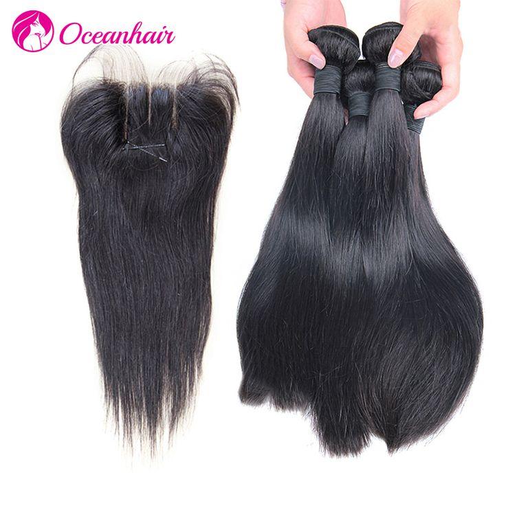 Peruvian Virgin Hair with Closure 5pcs lot Peruvian Straight Hair Bundles with Lace Closure 100% Unprocessed Human Hair Weave