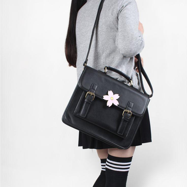 Japonés uniforme estilo preppy bolso mochila escolar mujeres pu de la manera de la vendimia manija con sakura hebilla bolso de hombro para las muchachas(China (Mainland))