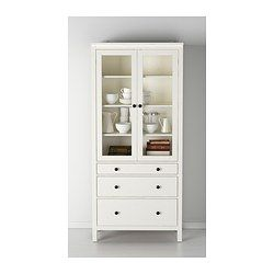 HEMNES Glass-door cabinet with 3 drawers - white stain - IKEA; I'm thinking one of these on each side of a sideboard or buffet for the dining room.