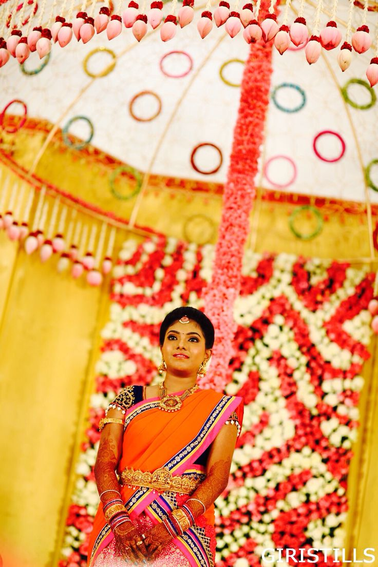 Lehengas South Indian Bride #tamilbride #telugubride #Brides Wedding Engagement Stage Decor Backdrop Vadanam #waistbelt Jewellery