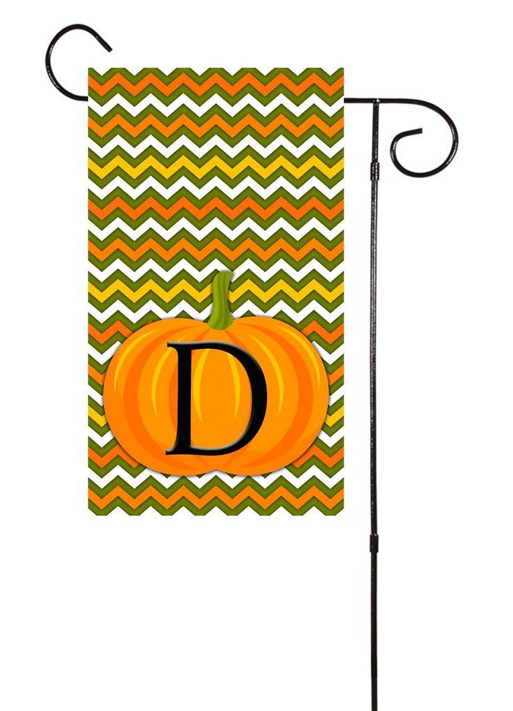 Fall / Halloween Chevron Pumpkin Initial Garden Flag