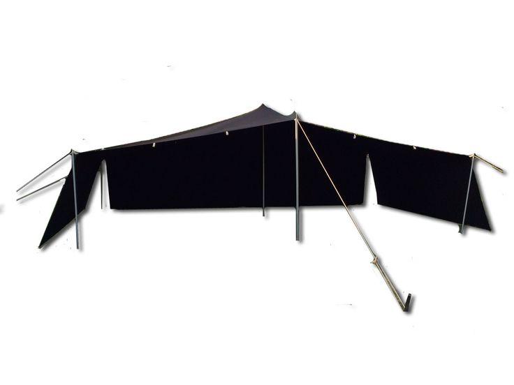 Größe: 7 x 4 Meter Mittelhöhe: 250 cm Seitenhöhe: 150 cm  Lieferumfang: 1x Mittelstange 250cm, teilbar 4x Seitenstange 150cm 1x Frontstange 200cm 8 Seile 8 kleine und 8 große Heringe  Farbe: schwarz