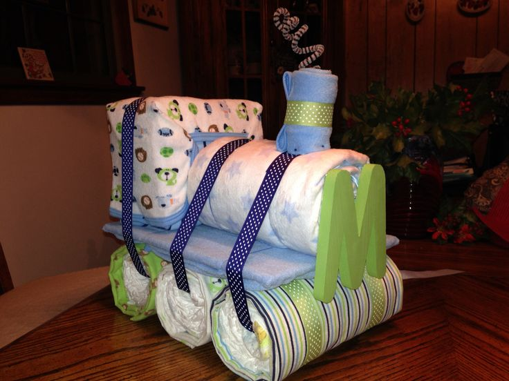 Train Diaper Cake 54 Size 1 Diapers 2 Burp Cloths 4