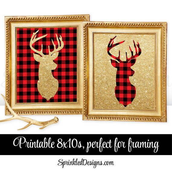 Printable Winter Home Decor - Deer Head Signs, Lumberjack Red Black Checkered Buffalo Plaid Gold Glitter Deer Antlers Wall Art, 2 8x10 Signs
