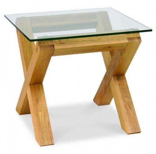 Bentley Designs Tania Oak Glass Top Lamp Table