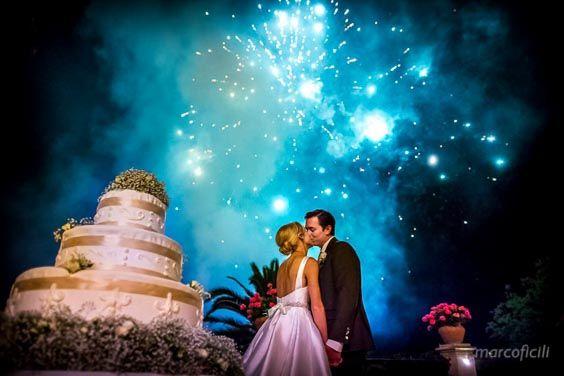 Amazing wedding photo - Fireworks for Noah and Naomi's wedding in Taormina