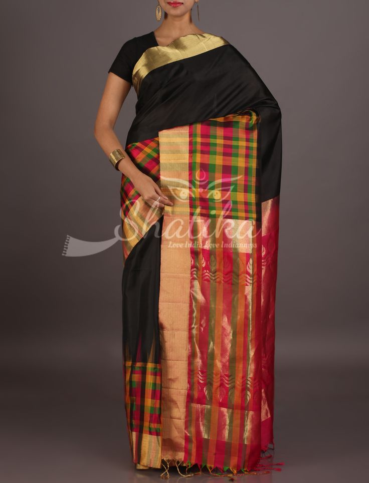 Niyati Bold Black With Checks Border Ornate Pallu Pure Mulberry Silk Saree