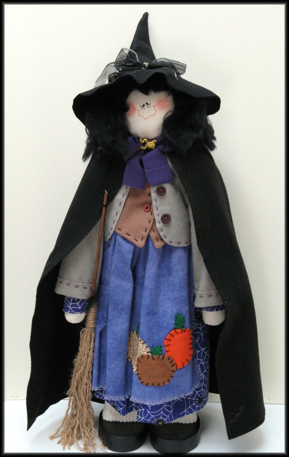 Wilma Witch - Handmade Country Halloween Witch Doll - Made by Linda Walsh of LindaWalshOriginals on Etsy
