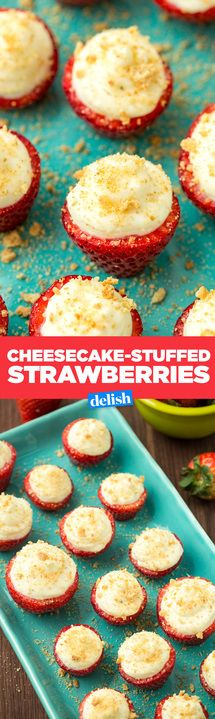Cheesecake-Stuffed Strawberries = healthy cuz they're fruit, right?! Get the recipe from Delish.com.