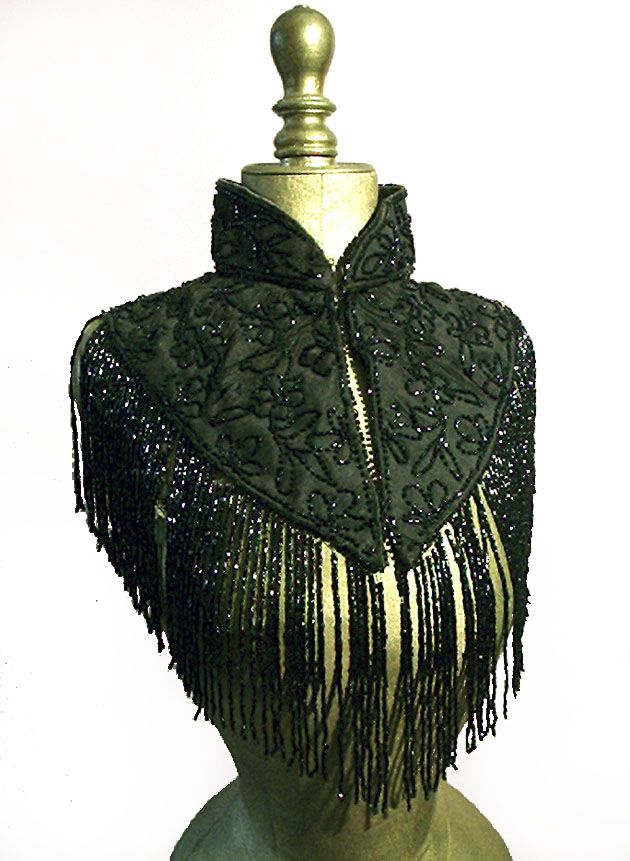 French Jet beaded Victorian Mantle Victorian French jet, glass beaded mourning mantle/ capelet [jet beaded]  late 1800's