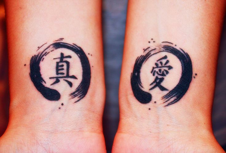 "YESSSS I'M SO STOKEDDDDD so the Enso Circles represent ""Strength"" in Japanese. and on my left wrist (which is the one on the right) is the Japanese Kanji for ""love"" and the other is in Chinese mean..."