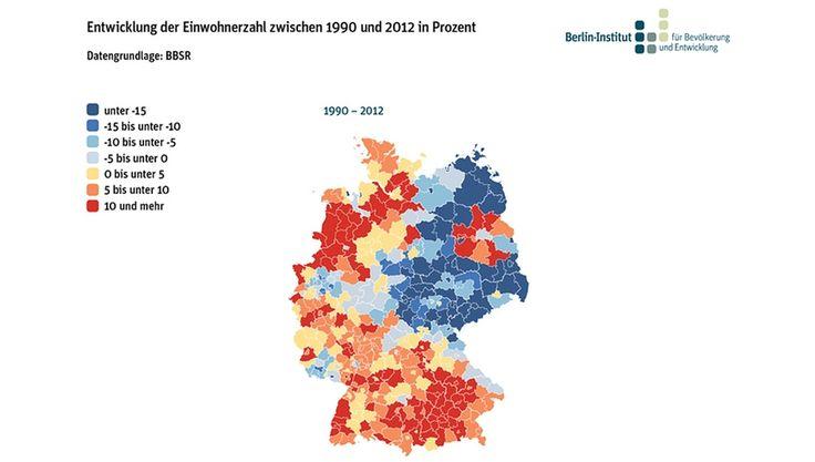Diese Karte der Bevölkerungsentwicklung zeigt ein eindeutiges Bild. (Quelle: Berlin-Institut für Bevölkerung und Entwicklung)