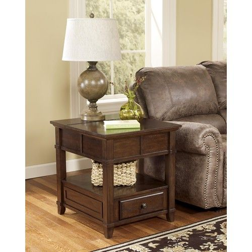 signature design by ashley gately end table with hidden storage electrical outlet decor. Black Bedroom Furniture Sets. Home Design Ideas
