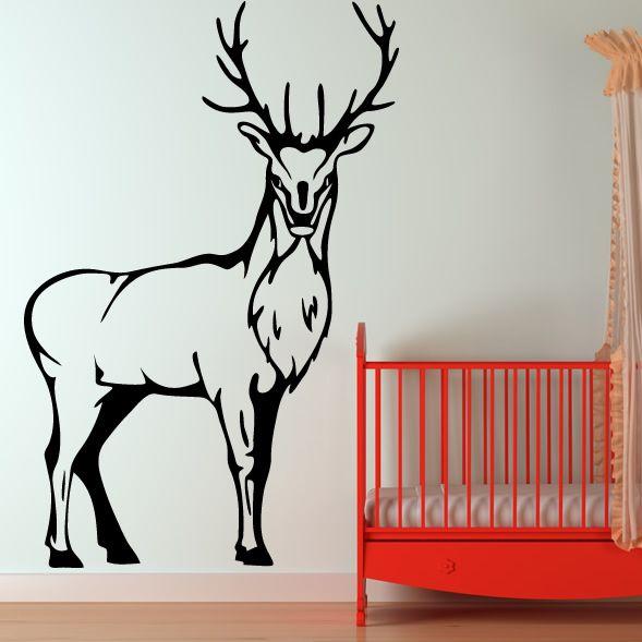 Deer Wall Decals | Stag Deer Stood Wall Art Sticker Wall Decal