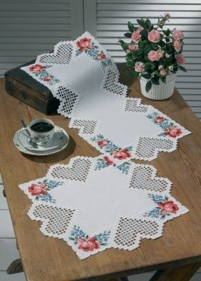 Heart Hardanger Table Topper (bottom) - (KIT) - I found this while browsing JuliesXstitch.com