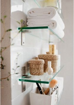 Little Lavatory Luxuries: Sizing Up Your Small Bathroom #glassshelvesbedroom #Ba…   – Bathroom organization
