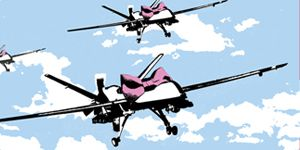 Rene Gagnon's new print release 'Happy Drones' is a contemporary re-make of the famous 'Happy Choppers' image created by Banksy. #renegagnon