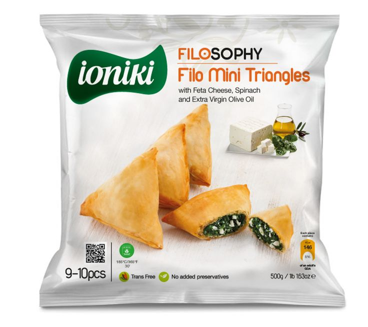 Ioniki Sfoliata - Filo Mini Triangles with Feta Cheese, Spinach and Extra Virgin Olive Oil - QR Code on Package
