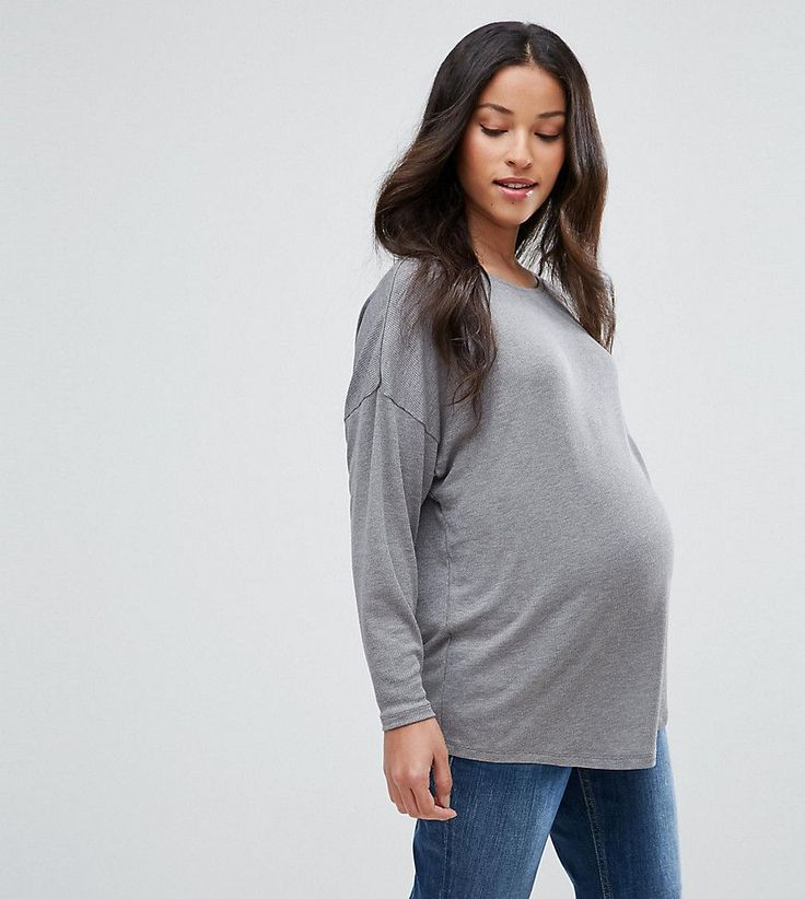 ASOS Maternity Oversized T-Shirt with Batwing Detail - Gray