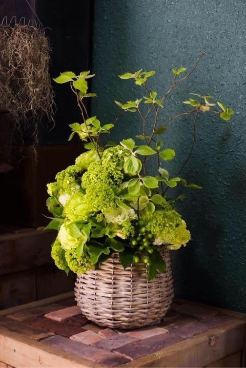 green flower arrangement