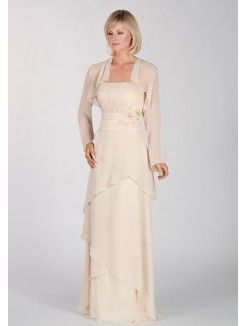 A-Line Strapless Neckline Floor-Length Chiffon Mother of the Bride Outfit With…